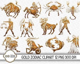 GOLD ZODIAC Clip Art, Instant Download, Zodiac Scrapbooking/Digital Zodiac/Art Supplies/Design Elements Commercial Use/300 Dpi/9 Png