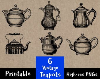 6 Vintage Teapots, Tea Kettle Clip Art, Tea Pot Clipart, Antique Kitchen + Dining Room Images, Tea Time Clipart, Tea Pot Clipart, PNG
