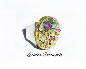 Steampunk ring with genuine movement.