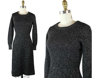 1970s Glitzy Knit Sweater Dress / Black and Silver Knee Length 70s Fall / Winter Dress