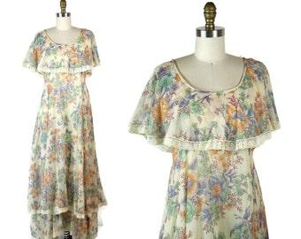 1970s Flutter Sleeve Floral Maxi Dress / Tiered Lace Long Hippie Dress / 70s Vintage London Prairie Dress