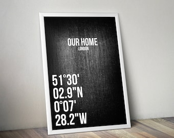 Personalized Coordinates Poster Print A3 Black