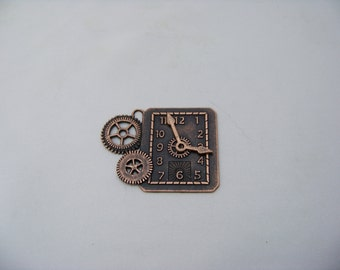 Steampunk Rectangular Clock and Gears Charm  4863