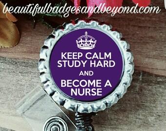 Keep Calm Nursing Student  Retractable Badge Holder