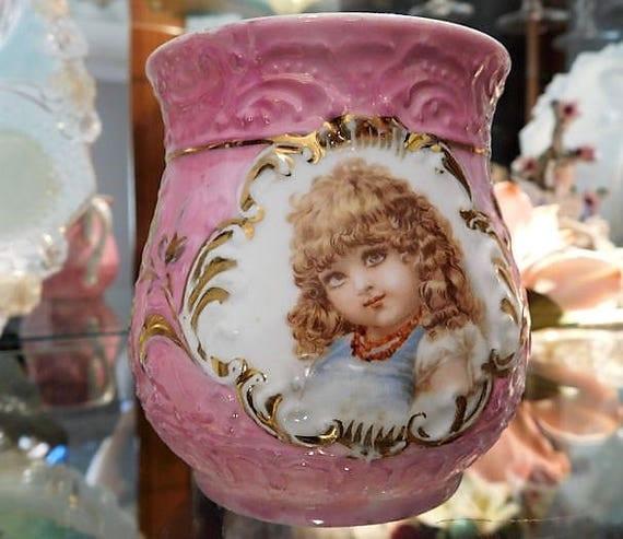Antique German Lusterware Childs Handled Baby Cup Frances Brundage Female Child Illustration Baby Shower Gift Vintage Nursery Cottage Decor