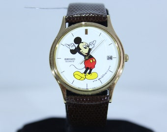 Vintage Seiko Walt Disney Micky Mouse Quartz Watch with Date Function