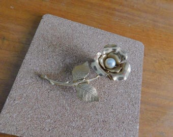 1960s blooming rose brooch | 60's mid century jewelry