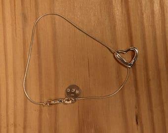 Solid Sterling Silver Heart Charm Bracelet