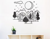 Wall decal / forest / Night sky / 39.6 x 33.46 inch