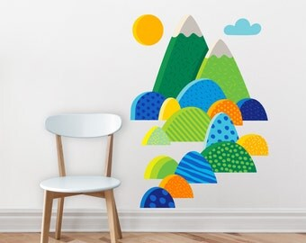 Mountains Wall decal / Mountains and hills / Colorful mountains wall sticker / mountains sticker /  kids room decor, colorful vinyl