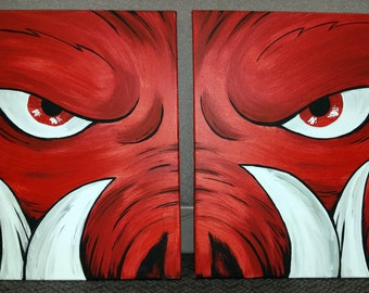 """Official Arkansas Razorback painting """"Tusk in 2"""" on two stretched canvases"""