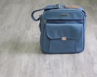 Vintage Samsonite Blue Vinyl Carry On Luggage / Shoulder Bag / Purse