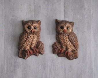 Vintage Owl Wall Hangings - set of two