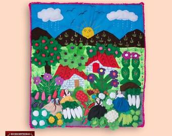 """peruvian aplique 19.7"""" - Hanging quilt 3d - quilted wall hanging - peru arpillera folk art - peruvian textile - fabric wall hanging quilt"""