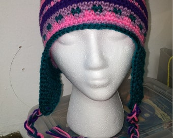 Crochet, multicolor beanie with ear flaps and braids!