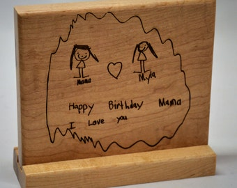 Children's drawings and writing Custom engraved Solid Maple Table Stands, Table Marker, Table Reservation,