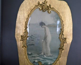 LARGE framed llithograph - lady with water lillies - Art Nouveau style