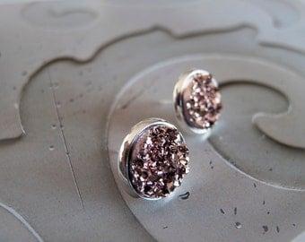Sparkly Copper Silver Druzy Stud Earrings