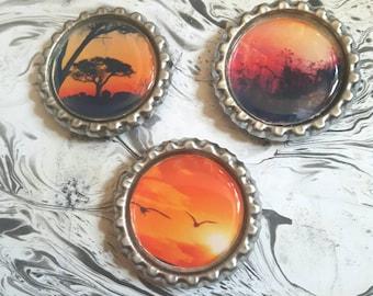 Fridge Magnets, Sunset Theme, Nature Theme, Bottle Top Magnets, Handmade Gift, Home Decor, Kitchen Decor