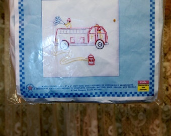 Twelve Vintage Firetrucks 9″ Quilt Squares Already Embroidered