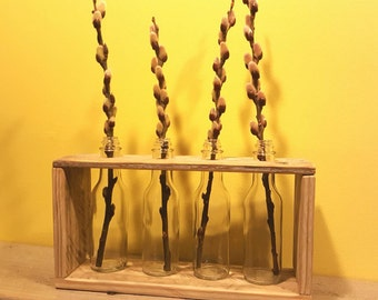 Reclaimed wood and glass bottle bud vase rack - small