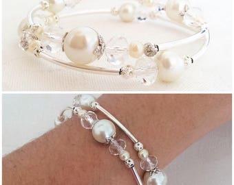 Ivory Pearl Bracelet, Ivory Pearl Jewellery, Ivory Jewelry, Ivory Bracelet, Bridesmaid Gift, Wedding