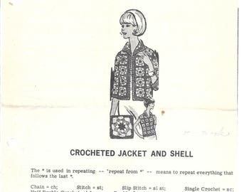 Vintage Mail Order Misses  32-34 and 36-38 CROCHETED JACKET & SHELL Design 966