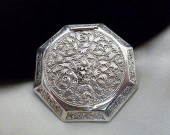 Silver Compact, Art Nouveau, Powder Screen, Floral Decorations, Hinged Lid, Mirror, Vintage 20s