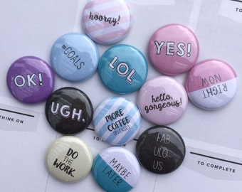 PLANNER FLAIR BUTTONS pin badge crafting scrapbooking planner phrases sassy goals coffee set of 12