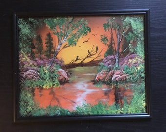 Spray Paint Art Swamp with Birds Forest Woods Sunset Sunrise