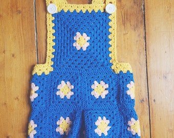 Toddler Dungarees - Handmade - Crochet - Romper - Playsuit - 2-3 years
