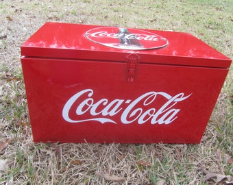 Vintage coke cooler, metal cooler,vintage Coke sign,advertising, ice cooler, picnic, mid century decor, red, coca cola cooler, collectible,