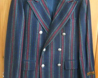 Vintage ~NEW ~ STANLEY BLACKER~ Wool Tartan Navy Blue Striped Sport Coat ~ Suit Jacket~ New w/tags~ Silver Buttons~ Double Breasted ~ Sz 40