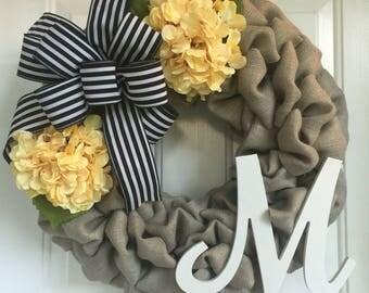 Everyday wreath, Summer wreath, Burlap wreath