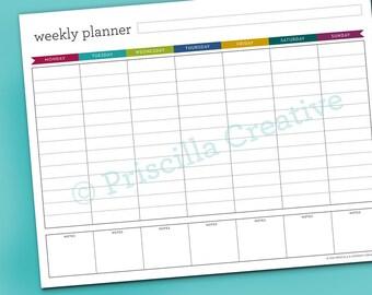 Printable | Weekly Planner | Weekly Goals | Organization