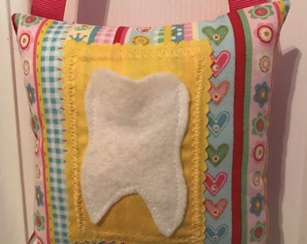 Tooth Fairy Pillow, Girls Tooth Fairy Pillow, Hearts and flowers tooth fairy pillow