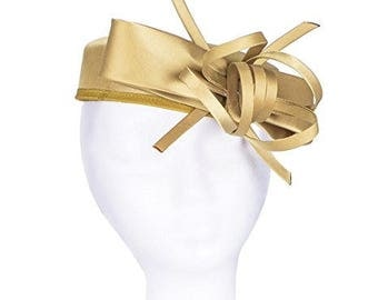 Janeo Kate Pillbox Fascinator Hat Headwear. Classic, Crisp and Clean Shape with Bows. Pearlised Satin Pill Box in 5 Versatile Colours- Gold