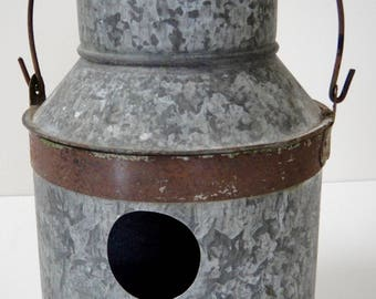 Galvanized Mini Milk Can Birdhouse