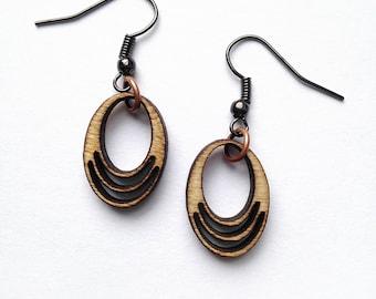 Oval Wood Earrings - Wood Jewelry, Laser Cut Wood Earrings, Natural Jewelry, Joanna Gaines Jewelry, Gift for Women, Laser Cut Jewelry