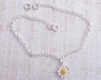 Sterling silver daisy flower chain bracelet sterling silver 925