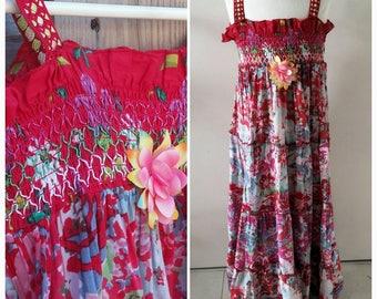 Girls Summer Dress RED FLOWER Handmade OOAK
