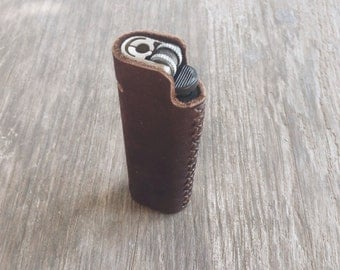 Dark Brown Nubuk leather lighter case, Lighter cover, Handmade lighter case