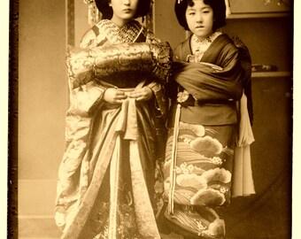 Geisha Girls, Japan, Japanese Girls, Sepia Filter Old Photo Print