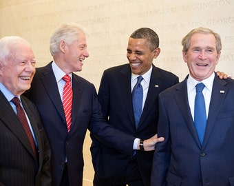 4 US Presidents Laughing together, Clinton, Obama, Bush and Carter Picture
