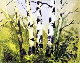 Birch Trees Oil Painting, Original Art Painting, Landscape painting, Wall Art, Palette knife Painting by Tetiana