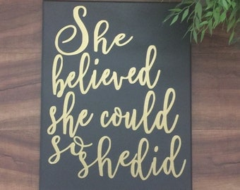 she believed she could so she did wall canvas CUSTOM COLORS baby girl nursery wall art playroom wall art girls room art inspirational quote