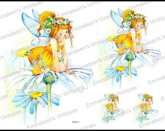Shabby Soft Pastel Watercolor Yellow Little Fairy Girl Waterslide Decals KID677