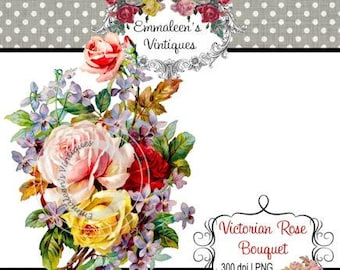 Vintage Shabby Victorian Roses Floral Flower Bouquet Digital Download — Printable Ephemera
