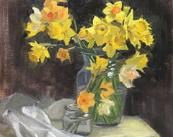 Dancing Daffodils - Original contemporary floral painting - Oil Painting
