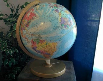 "Vintage 12"" World Desk Globe with Gold-Tone Metal Stand - Dated 1980"